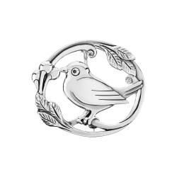 Sølv broche med blomster og fugl - 9041173
