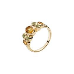 Guld ring 8kt. med citrin og peridot - 3071193-28