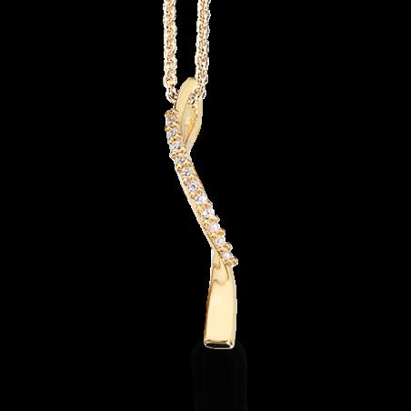 Forgyldt sølv vedhæng med zirconia incl. kæde