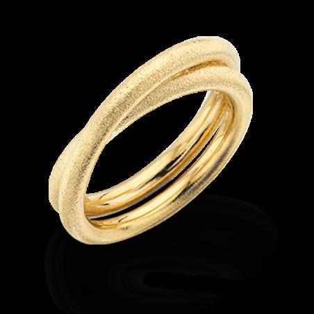 Forgyldt sølv ring med rustik overflade