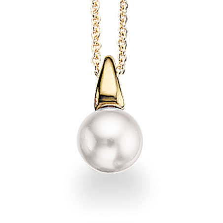 Forgyldt sølv vedhæng med Swarowski perle incl. kæde