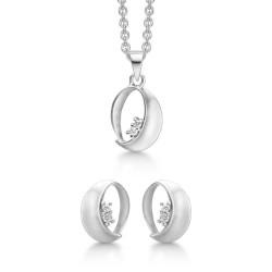 Sølv smykkesæt - oval med zirkonia - S223140