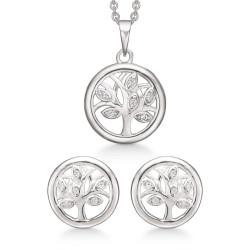 Sølv smykkesæt - Livets træ med zirkonia - S249024