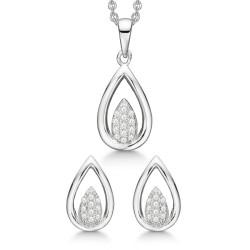 Sølv smykkesæt - Dråbe i dråbe med zirkonia - S249002