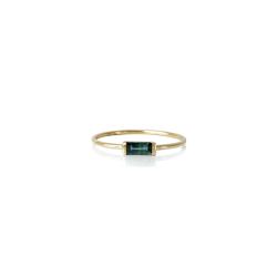 Ring i 18 kt. guld med baguette sleben grøn safir - 1