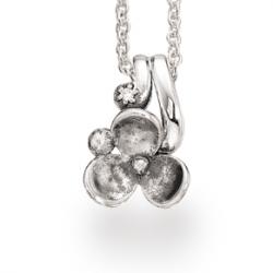 Sølv vedhæng med blomst og...