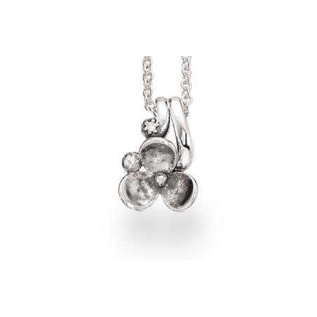 Sølv vedhæng med blomst og zirconia incl. kæde
