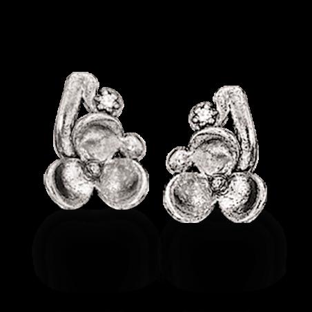 Sølv øreringe med blomst og zirconia