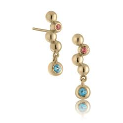 Harmony øreringe med pink turmalin og blå topas