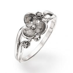 Sølv ring med blomst og...