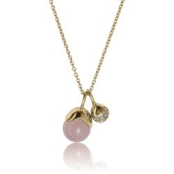 Glory halskæde - vedhæng med rosa calcedon og hvide topaser