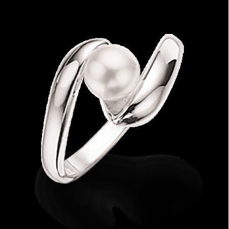 Sølv ring med Swarowski perle