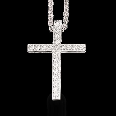 Kors sølv vedhæng med zirconia incl. kæde