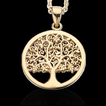 Livets træ forgyldt sølv vedhæng incl. kæde